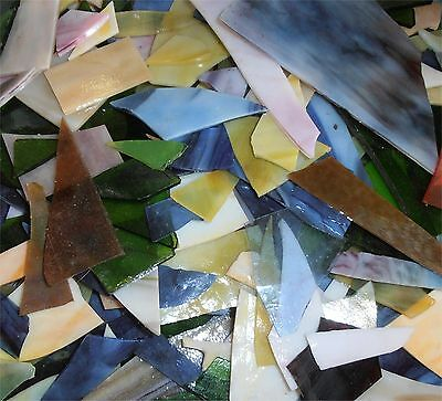 Stained Glass Mix Scraps Pieces 2 lb USA Germany Vintage