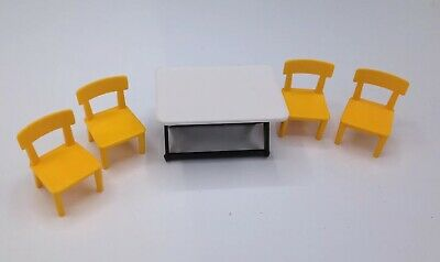 Playmobil White Folding Table W Yellow Chairs Campground Zoo Park House Safari