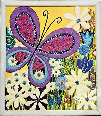 GIANT BUTTERFLY Crewel Embroidery Kit Mod Retro Colorful Belgian Yellow Linen