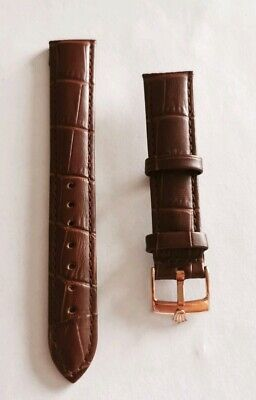 18mm Brown Genuine Leather Strap including Rose Gold buckle for Rolex watches.