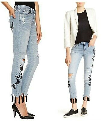 Blank NYC Women/'s Blue East Coast Embroidered Side Stripe Skinny Jean 25,26