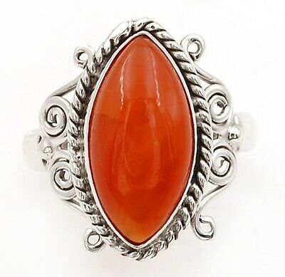 Unique Fineart Natural Carnelian 925 Sterling Silver Ring Jewelry Sz 8.5, C29-2