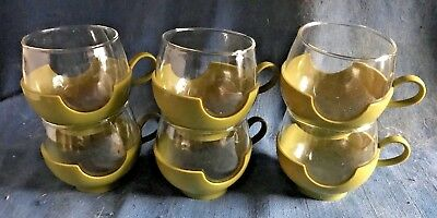 Vintage 1960s Pyrex Mid Century Modern Glass Coffee Tumbler Cup Set Avocado