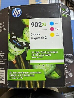 Genuine HP 902XL/902 3 pk Color Cyan/Magenta/Yellow Ink NEW SEALED Exp 2019