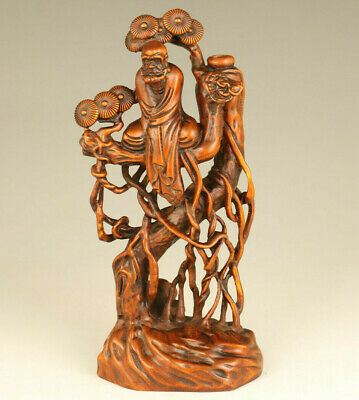 Asian Rare old boxwood hand carving in the tree Bodhidharma figue decoration