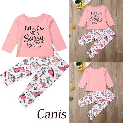 UK Kids Baby Girls Dinosaur Clothes Sassy T-shirt Tops+Pants Cotton Outfit Set