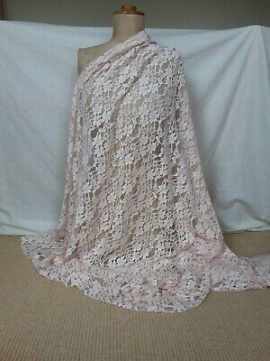 Palest peach pink matt floral embroidered tulle lace fabric 1.4 m x 154 cm
