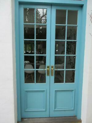 Pair Solid Outdoor Patio French Doors Wooden & Glass & Hardware Vgc Lot#1