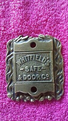 Vintage Antique Whitfields's Safe & Door Co Cast Brass Key Escutcheon Hole Cover