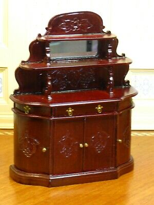 Mahogany Mirrored Sideboard with Shelves for Display - Dollhouse Miniature