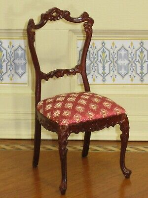 Bespaq Mahogany Side Chair - Red & Gold Upholstered Seat - Dollhouse Miniature