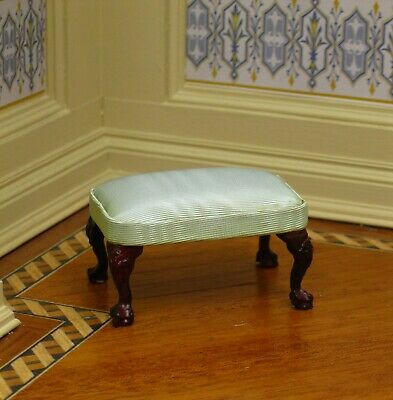 Bespaq Mahogany Stool Pale Green Seat Cushion - Dollhouse Miniature