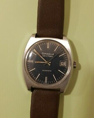 Caravelle Seto-Matic Dark Blue Seashell Dial Automatic Vintage Rare Watch