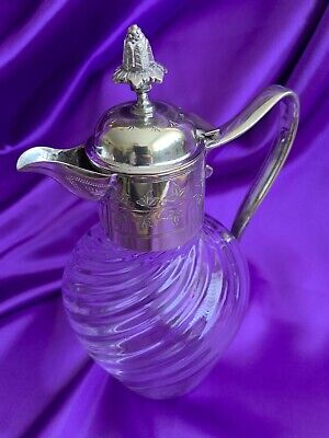Beautiful Vintage Swirled Glass Decanter with Silver Plated Top and Handle