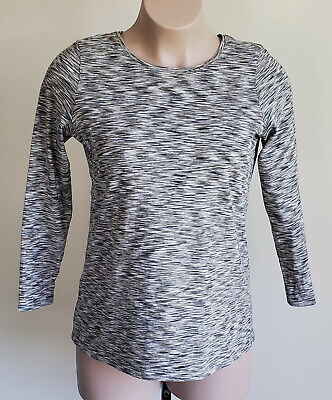 Pure Jill L Pullover Tee Top Crew Long Sleeve Camo Colors Olive Green Browns Tan