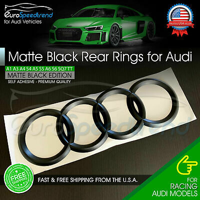 AUDI Rings Matte Black Trunk Lid Badge Logo Emblem Rear for A1 A3 A4 S4 A5 S6 A6
