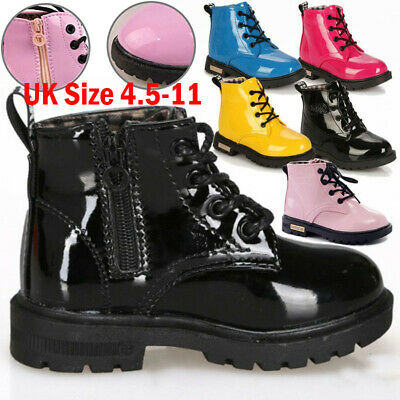 Kids Boys Girls Winter Warm Fur Lined Lace Ankle Boots Martin Shoes Size 4.5-11