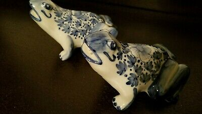Vintage Made In Thailand Frog Salt And Pepper Shakers blue, white hand painted