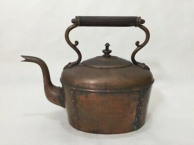 "Antique Christopher Dresser RD 130171 Modern Design Copper Tea Kettle, 8"" Tall"