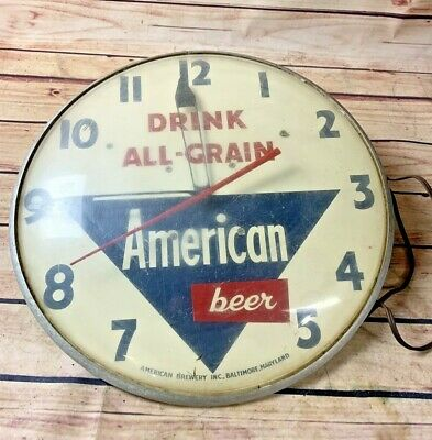 1940'S 1950'S Drink All Grain American Beer Clock Works Great 15 Inches Around