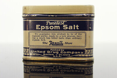 1930s Vintage 'Puretest Epsom Salt' 3 oz. Tin Can REXALL Store United Drug Co.