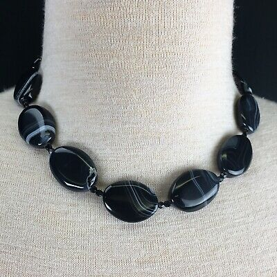 Natural Black Banded Agate Smooth Flat Oval Beads Necklace 18.5""