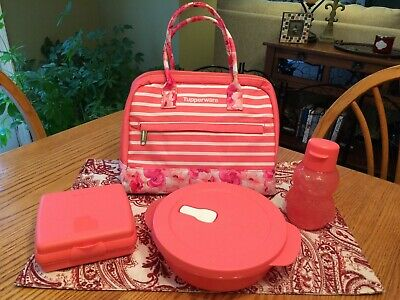 New TUPPERWARE Sweet & Sassy 4 Pc Lunch Bag Set ~ CrystalWave Sandwich Keeper