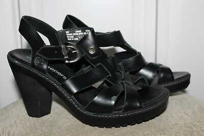 TIMBERLAND EARTHKEEPERS BLACK Leather Slide Sandals Women's