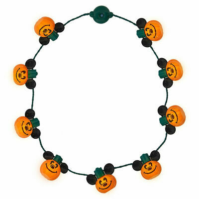 Disney Parks HALLOWEEN MICKEY PUMPKIN GLOW NECKLACE  Jack-O-Lantern Lights NWT