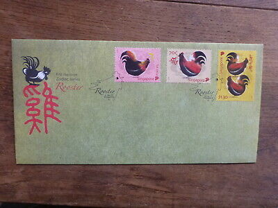 Singapore 2017 Year Of The Rooster Set 3 Stamps Fdc First Day Cover