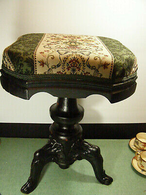 Vintage Victorian Style Piano Stool, Wood With Cast Iron Legs And Covered Seat