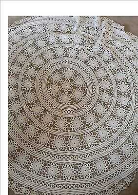 Tatted Tatting Lace Round Vintage Antique Ivory Tablecloth. As new.