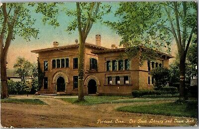 Buck Library and Town Hall, Portland CT c1912 Vintage Postcard T33