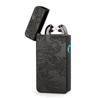 Black Windproof Arc Flameless Cigarette Lighter Electric USB Rechargeable Double