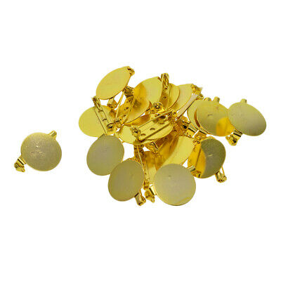 24pcs Gold Brooch Base Badge Settings Blanks Tray Safety Pins Findings 20mm