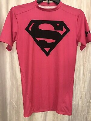 Under Armour Mens Pink Superman Fitted Compression Heat Gear Short Sleeve