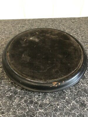 Antique Victorian Ebonised dome base display stand or plateau with velvet top