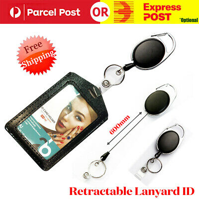Retractable Lanyard ID Card Holder Business Badges Security Pass Reel Key Ring