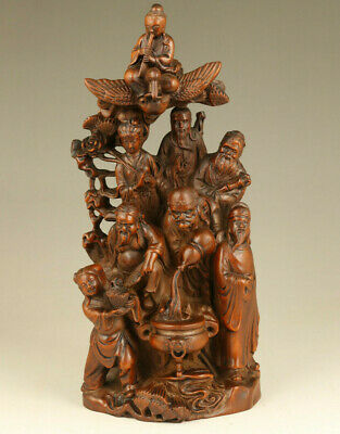 Chinese old boxwood Hand carving the Eight Immortals statue table decoration