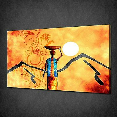 ABSTRACT AFRICAN COUPLE MODERN DESIGN CANVAS PRINT MANY SIZES FREE UK P/&P VC205