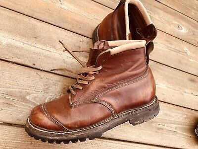 True Vintage 1940S 50S Size 7 Brown Leather Boots Stitched Nailed Vibram Hiking