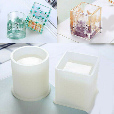 DIY Silicone Mold Pen Container Square Round Storage Holder Epoxy Resin Molds zx