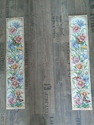10 x Vintage Ceramic Tiles Set Fireplace Flowers and Butterflies
