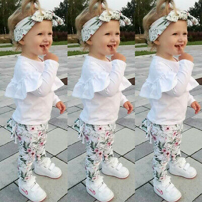 Toddler Kids Baby Girl Winter Clothes Ruffle Tops Floral Pants 3Pcs Outfit Set