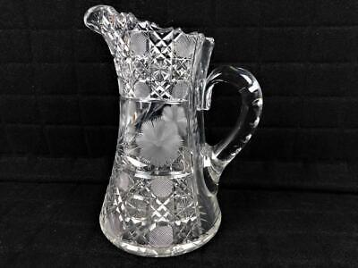 Elegant Cut Crystal American Brilliant Heavy Floral Star Daisy Pitcher 10 1/2""
