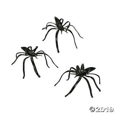 HALLOWEEN ~ 144 Realistic Plastic Black Spiders Spooky Party Decorations Props