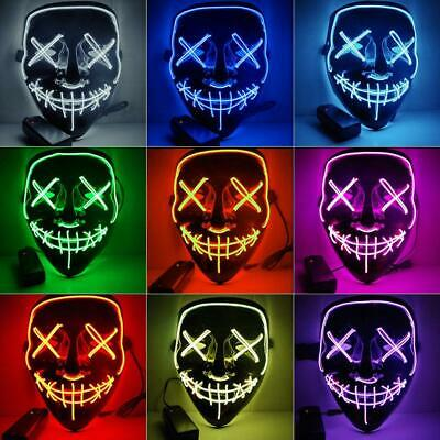 Neon Mask LED Wire Light Up Party Purge Halloween Glow In Dark