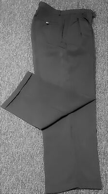 """Black pants, pleated front, wide leg, turned up cuff, polyester size L 37"""""""