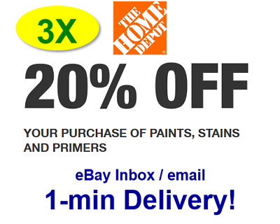 (3X)THREE Home Depot 20% OFF paint Promo.3Coupons In-store Only-sent in 1 min!
