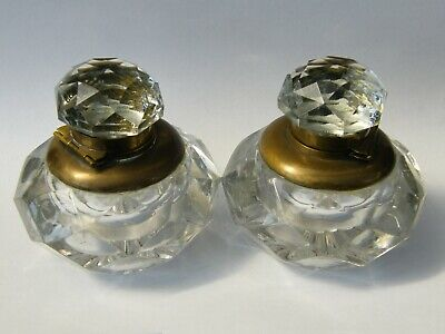 Antique-Victorian Superb Pair Of Large & Heavy  Cut Glass Desk Inkwells-c1880's